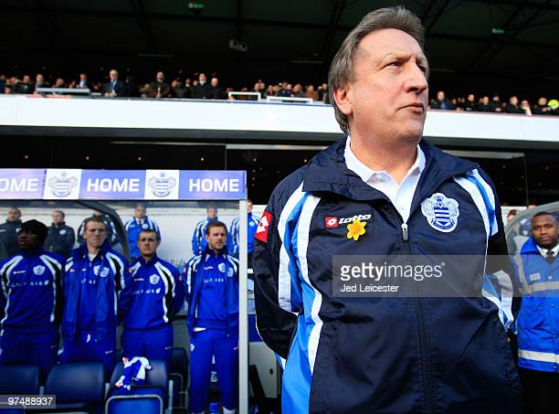 QPR manager Neil Warnock looks on during the Coca Cola Championship match between Queens Park Rangers and West Bromwich Albion at Loftus Road on...
