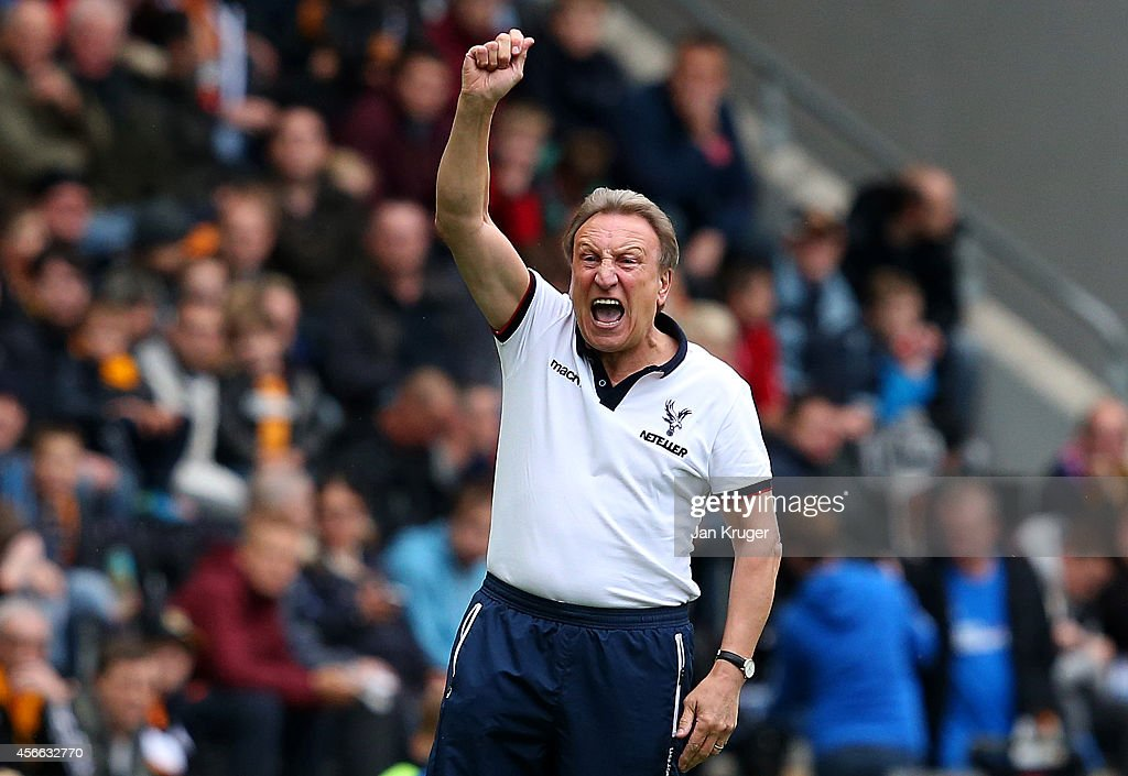 Manager <a gi-track='captionPersonalityLinkClicked' href=/galleries/search?phrase=Neil+Warnock&family=editorial&specificpeople=644786 ng-click='$event.stopPropagation()'>Neil Warnock</a> of Crystal Palace reacts during the Barclays Premier League match between Hull City and Crystal Palace at KC Stadium on October 4, 2014 in Hull, England.