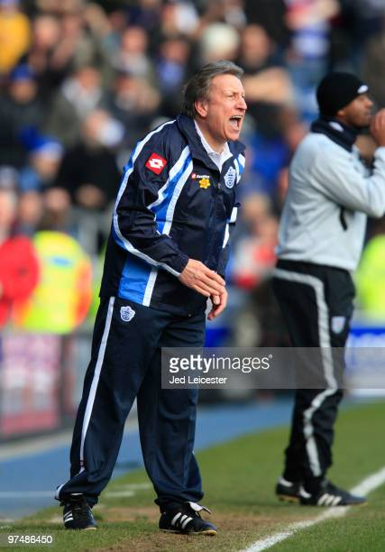 QPR manager Neil Warnock shouts instructions from the touchline during the Coca Cola Championship match between Queens Park Rangers and West Bromwich...