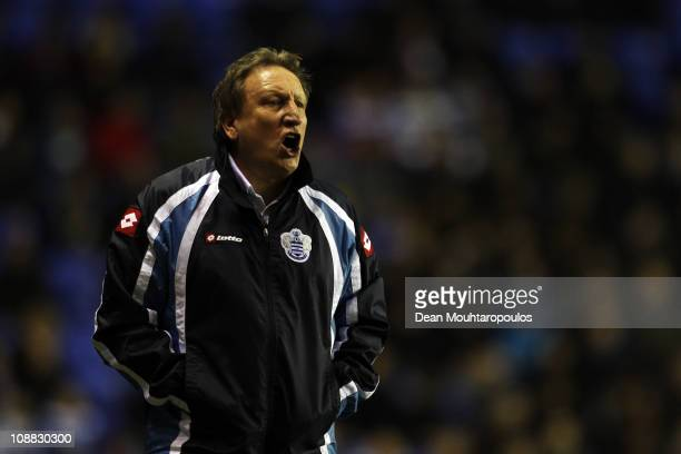 Manager Neil Warnock shouts on the sidelines during the npower Championship match between Reading and Queens Park Rangers at Madejski Stadium on...