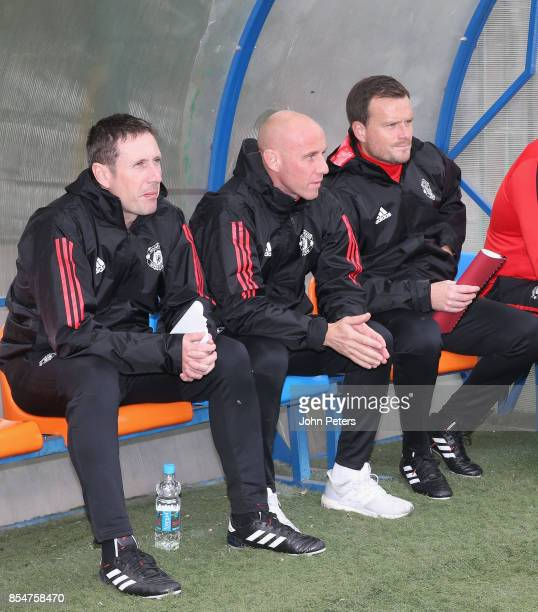 Manager Nicky Butt of Manchester United U19s watches during the UEFA Youth League match between CSKA Moskva U19s and Manchester United U19s at...