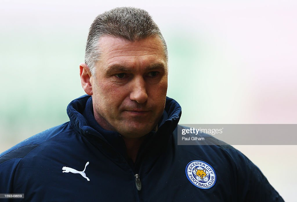 Manager <a gi-track='captionPersonalityLinkClicked' href=/galleries/search?phrase=Nigel+Pearson&family=editorial&specificpeople=2480378 ng-click='$event.stopPropagation()'>Nigel Pearson</a> of Leicester City looks on during the npower Championship match between Bristol City and Leicester City at Ashton Gate on January 12, 2013 in Bristol, England.