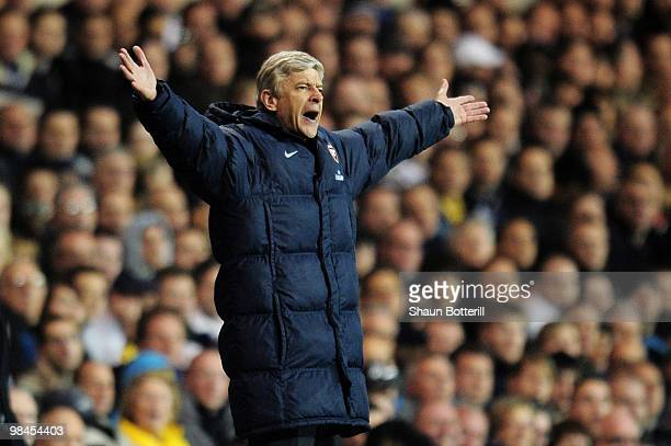 Manager of Arsenal Arsene Wenger shouts to his team during the Barclays Premier League match between Tottenham Hotspur and Arsenal at White Hart Lane...