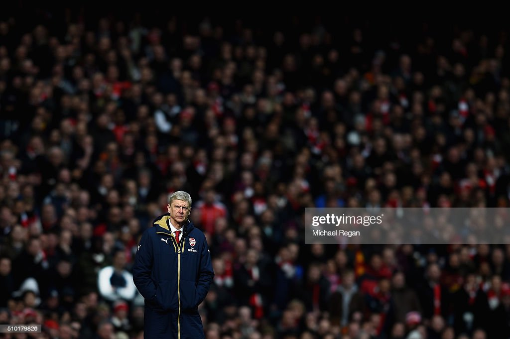 Manager of Arsenal Arsene Wengner looks on during the Barclays Premier League match between Arsenal and Leicester City at the Emirates Stadium.