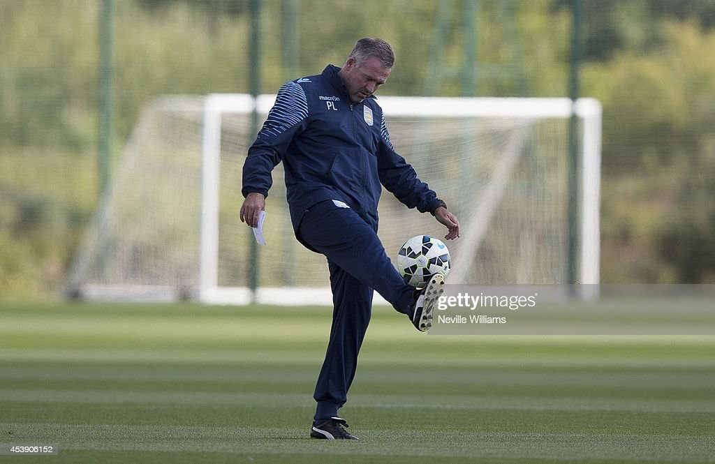 Manager of Aston Villa Paul Lambert in action during an Aston Villa training session at the club's training ground at Bodymoor Heath on August 21, 2014 in Birmingham, England.