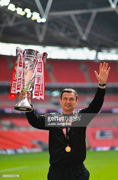 Manager of Barnsley FC Paul Heckingbottom celebrates after winning the the Sky Bet League One Play Off Final against Millwall at Wembley Stadium on...