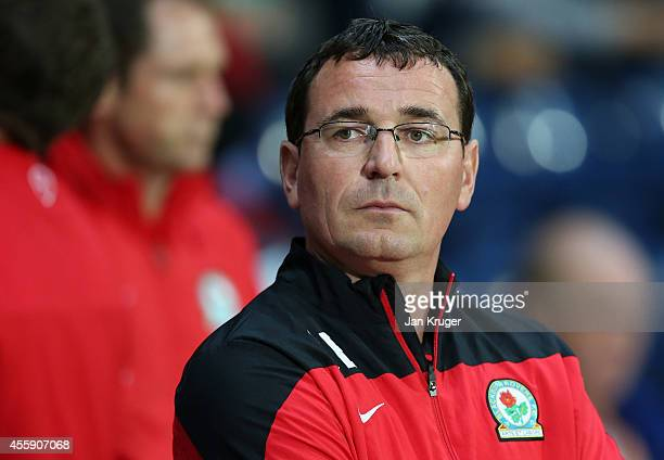Manager of Blackburn Rovers Gary Bowyer looks on during the Sky Bet Championship match between Blackburn Rovers and Derby County at Ewood Park on...