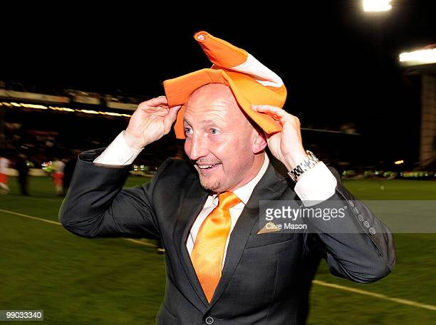 Manager of Blackpool Ian Holloway celebrates at the end of the Coca Cola Championship PlayOff SemiFinal Second Leg match between Nottingham Forest...