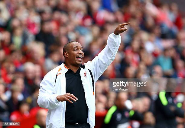 Manager of Blackpool Paul Ince directs play during the Sky Bet Championship match between Charlton Athletic and Blackpool at The Valley on October 5...