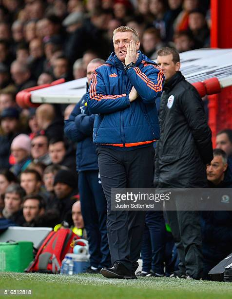 Manager of Brentford FC Dean Smith looks dejected during the Sky Bet Championship between Brentford and Blackburn Rovers on March 19 2016 in...