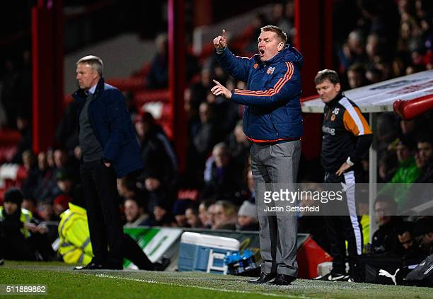 Manager of Brentford FC Dean Smith makes a point during the Sky Bet Championship match between Brentford and Wolverhampton Wanderers on February 23...