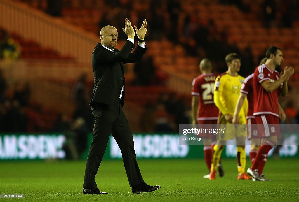 Manager of Burnley Sean Dyche applauds the travelling support during the Emirates FA Cup third round match between Middlesbrough and Burnley at Riverside Stadium on January 9, 2016 in Middlesbrough, England.