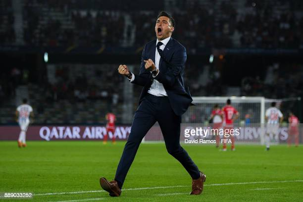 Manager of CF Pachuca Diego Alonso celebrates his sides first goal during the FIFA Club World Cup quarterfinal match between CF Pachuca and Wydad...