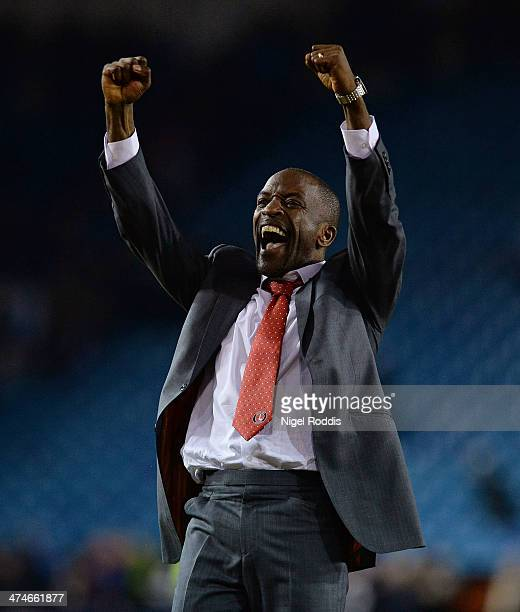 Manager of Charlton Athletic Chris Powell celebrates after winning the Budweiser FA Cup Fifth Round match between Sheffield Wednesday and Charlton...