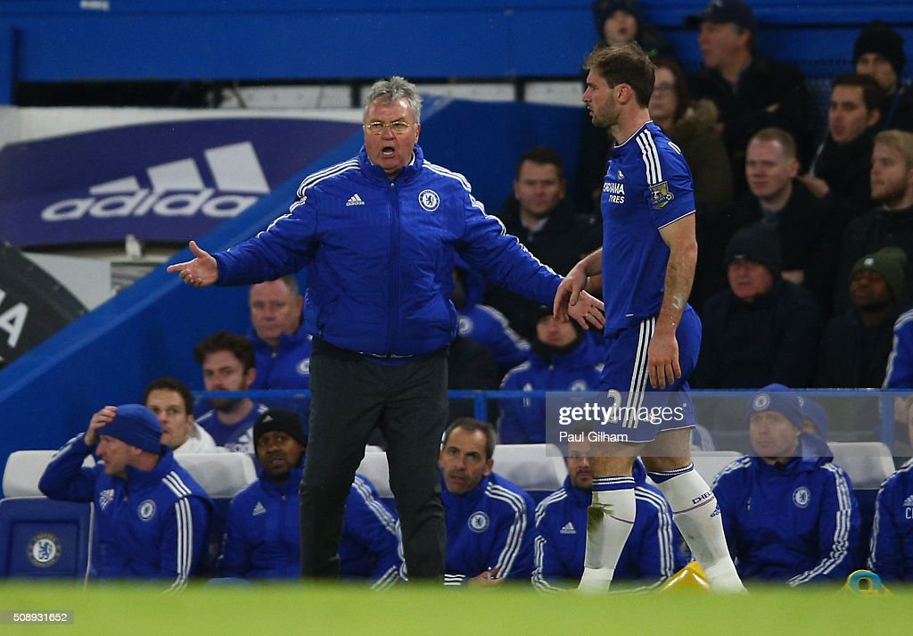Manager of Chelsea Guss Hiddink reacts during the Barclays Premier League match between Chelsea and Manchester United at Stamford Bridge on February 7, 2016 in London, England.