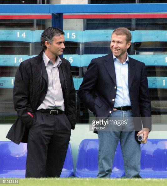 Manager of Chelsea Jose Mourinho talks with Chelsea owner Roman Abramovich before the Barclays Premiership match between Crystal Palace and Chelsea...
