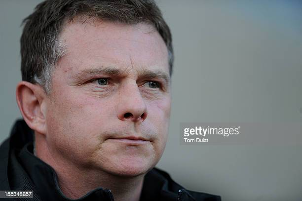 Manager of Coventry City Mark Robins looks on during the FA Cup With Budweiser 1st Round match between Coventry City and Arlesey at the Ricoh Arena...