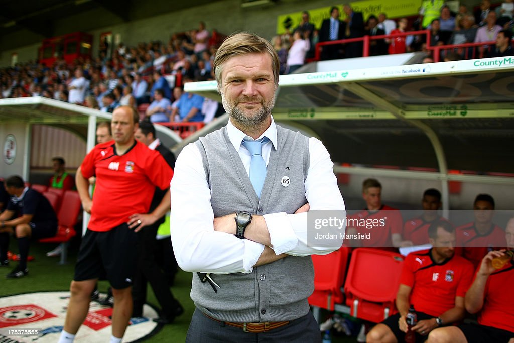 Manager of Coventry City Steven Pressley ahead of the Sky Bet League One match between Crawley Town FC and Coventry at Broadfield Stadium on August 03, 2013 in Crawley, West Sussex,