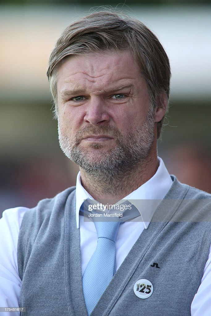 Manager of Coventry City Steven Pressley looks on during the Sky Bet League One match between Crawley Town FC and Coventry at Broadfield Stadium on August 03, 2013 in Crawley, West Sussex.