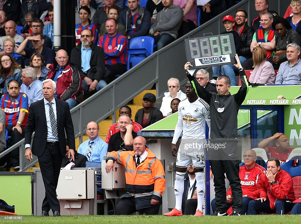 Manager of Crystal Palace Alan Pardew looks on during the Barclays Premier League match between Crystal Palace and Swansea City at Selhurst Park on May 24, 2015 in London, England.