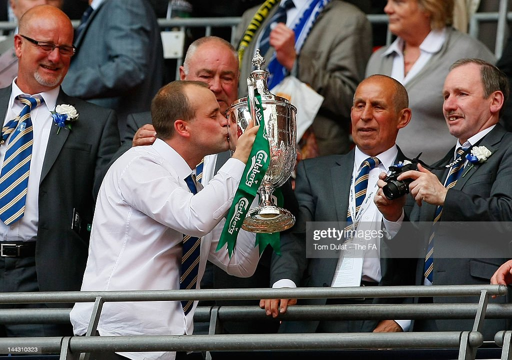Manager of Dunston UTS Billy Irwin kisses the trophy after The FA Carlsberg Vase Final between Dunston UTS and West Auckland Town at Wembley Stadium on May 13, 2012 in London, England.
