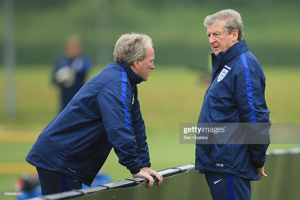Manager of England <a gi-track='captionPersonalityLinkClicked' href=/galleries/search?phrase=Roy+Hodgson&family=editorial&specificpeople=881703 ng-click='$event.stopPropagation()'>Roy Hodgson</a> in conversation with <a gi-track='captionPersonalityLinkClicked' href=/galleries/search?phrase=Ray+Lewington&family=editorial&specificpeople=224730 ng-click='$event.stopPropagation()'>Ray Lewington</a> during an England training session at St Georges Park on May 30, 2016 in Burton on Trent, England.