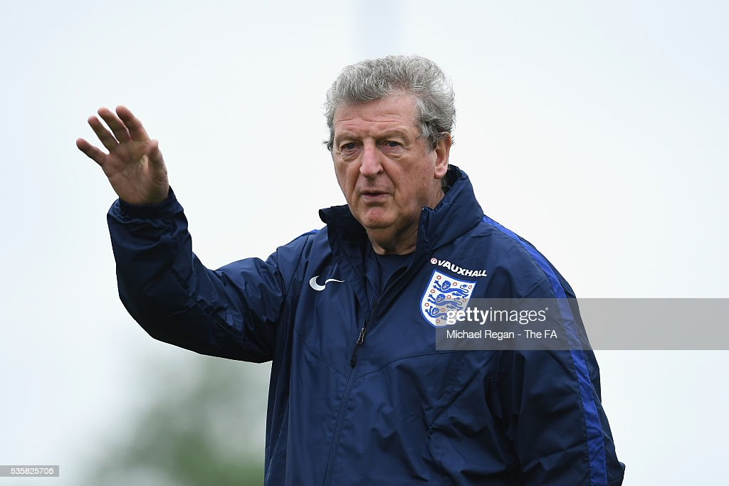 Manager of England, <a gi-track='captionPersonalityLinkClicked' href=/galleries/search?phrase=Roy+Hodgson&family=editorial&specificpeople=881703 ng-click='$event.stopPropagation()'>Roy Hodgson</a> looks on during an England training session at London Colney on May 30, 2016 near St Albans, England.