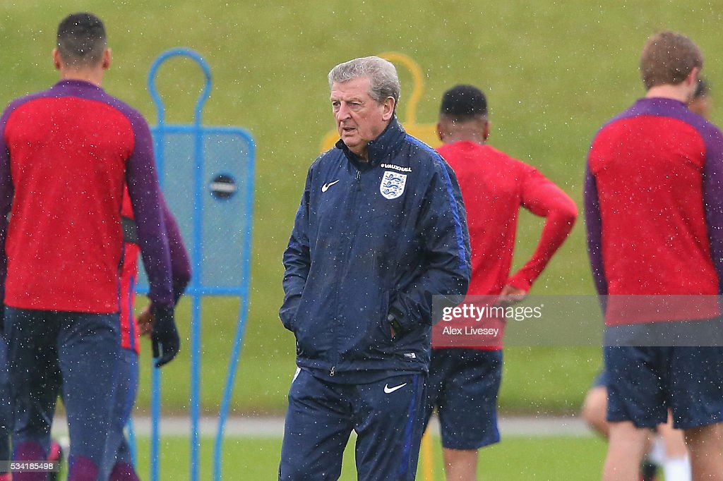 Manager of England <a gi-track='captionPersonalityLinkClicked' href=/galleries/search?phrase=Roy+Hodgson&family=editorial&specificpeople=881703 ng-click='$event.stopPropagation()'>Roy Hodgson</a> looks on during the England training session at Manchester City Football Academy on May 25, 2016 in Manchester, England.