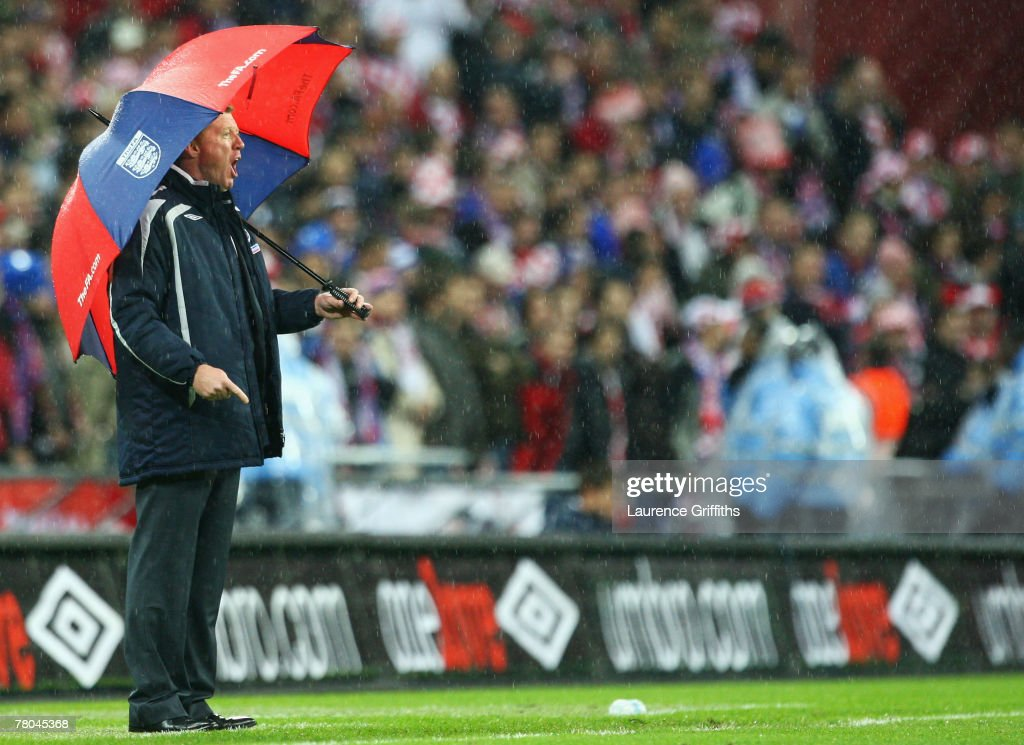 Manager of England Steve McClaren looks from the touchline during the Euro 2008 Group E qualifying match between England and Croatia at Wembley Stadium on November 21, 2007 in London, England.