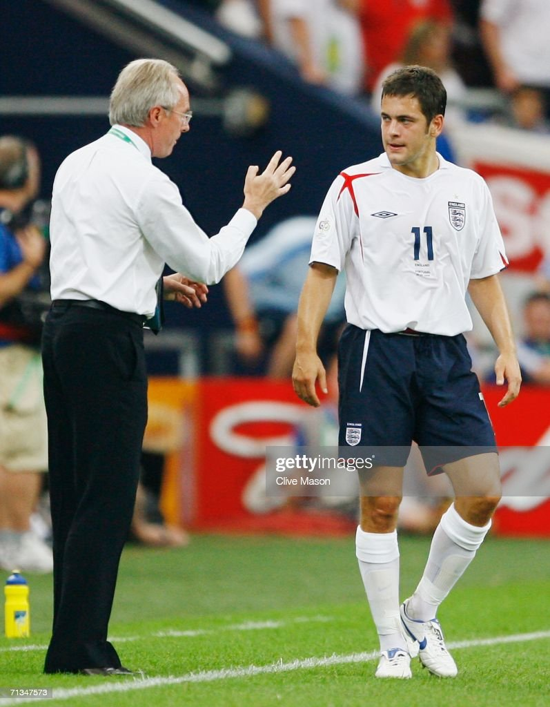 Manager of England Sven Goran Eriksson gives instructions to <a gi-track='captionPersonalityLinkClicked' href=/galleries/search?phrase=Joe+Cole&family=editorial&specificpeople=171525 ng-click='$event.stopPropagation()'>Joe Cole</a> of England during the FIFA World Cup Germany 2006 Quarter-final match between England and Portugal played at the Stadium Gelsenkirchen on July 1, 2006 in Gelsenkirchen, Germany.