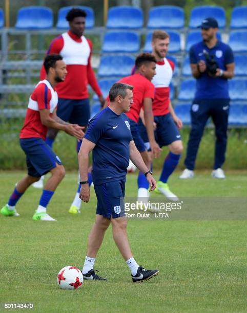 Manager of England U21 Aidy Boothroyd looks on during a training session on the eve of their UEFA European Under21 Championship Semifinal against...