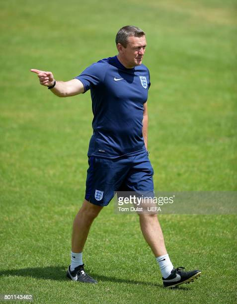 Manager of England U21 U21 Aidy Boothroyd looks on during a training session on the eve of their UEFA European Under21 Championship Semifinal against...