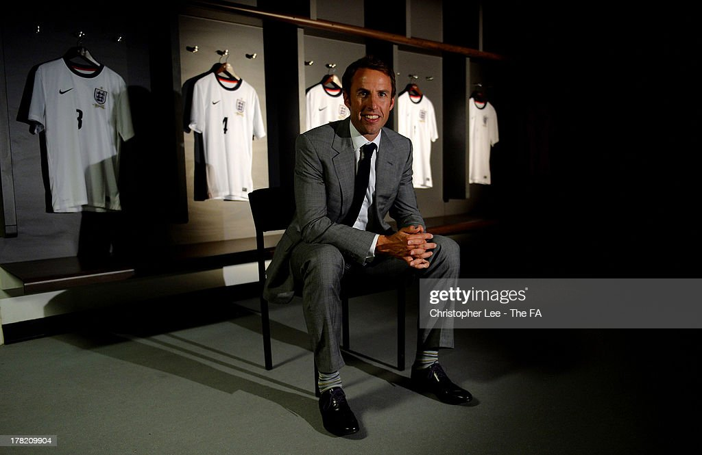 Manager of England U21s <a gi-track='captionPersonalityLinkClicked' href=/galleries/search?phrase=Gareth+Southgate&family=editorial&specificpeople=206903 ng-click='$event.stopPropagation()'>Gareth Southgate</a> poses for a photograph during the Roy Hodgson and <a gi-track='captionPersonalityLinkClicked' href=/galleries/search?phrase=Gareth+Southgate&family=editorial&specificpeople=206903 ng-click='$event.stopPropagation()'>Gareth Southgate</a> Press Conference for the England International teams at Wembley Stadium on August 27, 2013 in London, England.