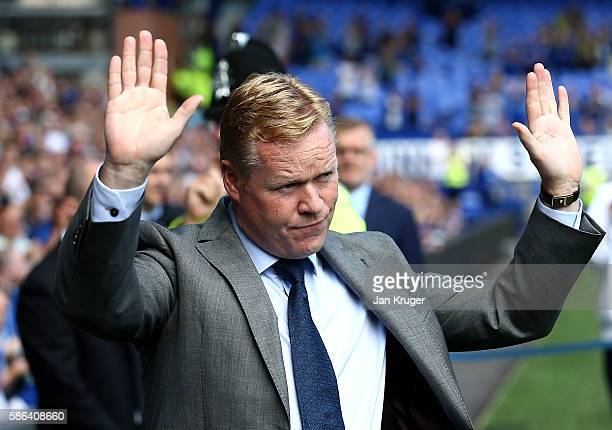 Manager of Everton Ronald Koeman acknowledges the fans after being introduced during the preseason friendly match between Everton and Espanyol at...