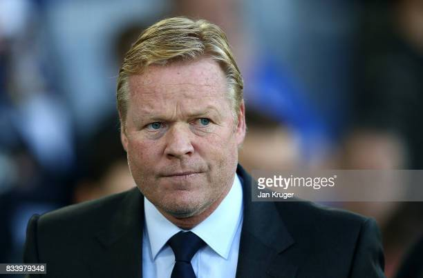 Manager of Everton Ronald Koeman looks on during the UEFA Europa League Qualifying PlayOffs round first leg match between Everton FC and Hajduk Split...