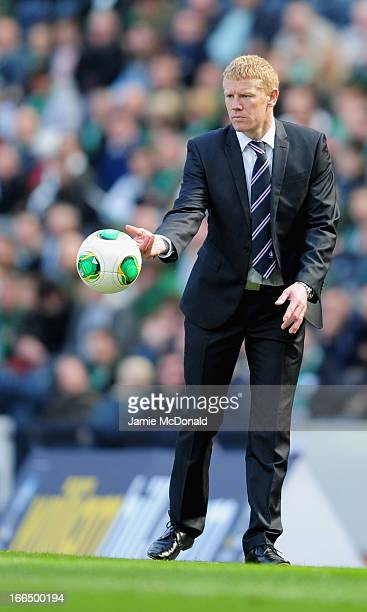 Manager of Falkirk Gary Holt looks on during The William Hill Scottish Cup Semi Final between Falkirk and Hibernian at Hampden Park on April 13 2013...