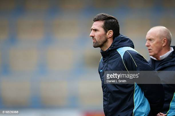 Manager of FC Halifax Town Darren Kelly during the FA Trophy Semi Final Second Leg match between FC Halifax Town and Nantwich Town at The Shay...