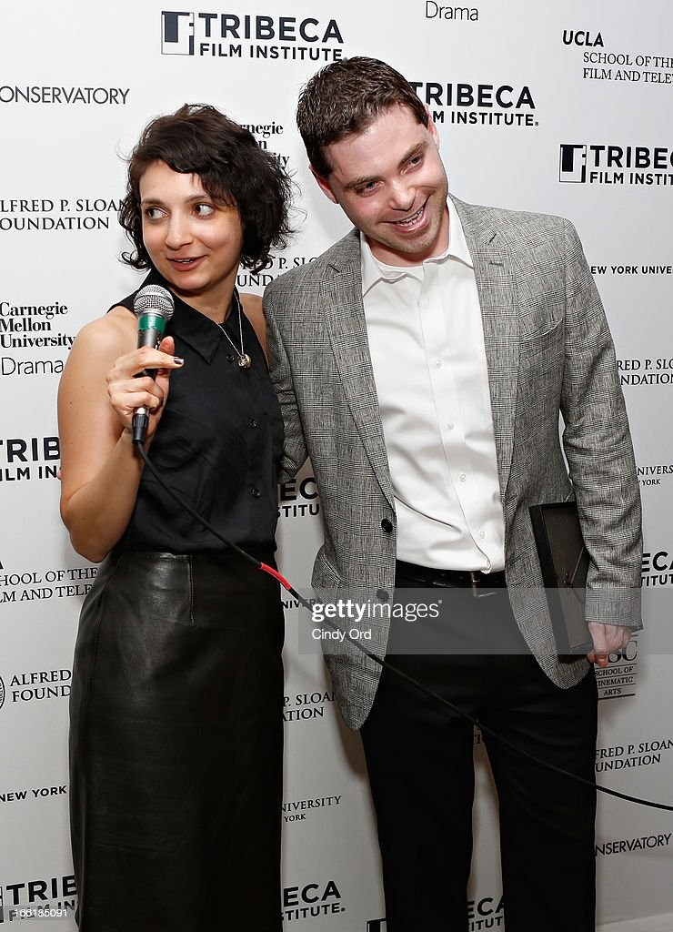 Manager of Feature Programming at the Tribeca Film Institute Natalie Mooallem speaks with award recipient/ filmmaker Barnett Brettler during the Sloan Foundation Student Grand Jury Prize Award presentation on April 9, 2013 in New York City.