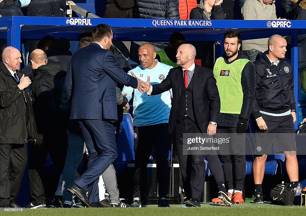 Manager of Fulham, Slavisa Jokanovic (L) and Manager of Queens Park Rangers, Ian Holloway (R) shake hands during the Sky Bet Championship match between Queens Park Rangers and Fulham at Loftus Road on January 21, 2017 in London, England.
