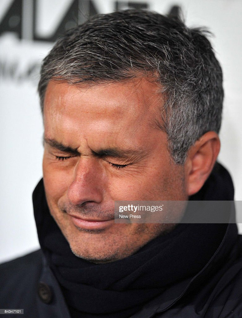 Manager of Inter, Jose Mourinho, looks dejected during the Serie A match between Atalanta and Inter Milan at the Stadio Atleti Azzuri d' Italia on January 18, 2009 in Bergamo, Italy.