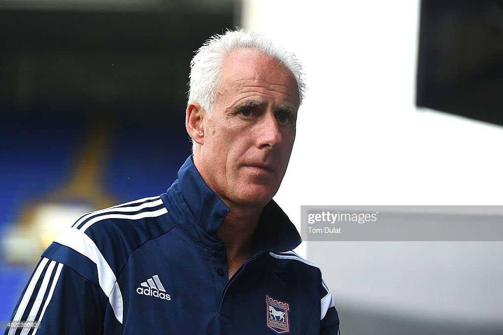 Manager of Ipswich Town Mick McCarthy looks on during the pre-season friendly match between Ipswich Town and West Ham United at Portman Road on July 16, 2014 in Ipswich, England.