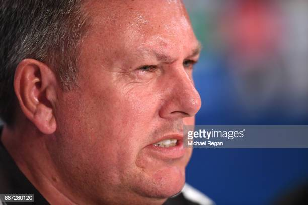 Manager of Leicester City Craig Shakespeare speaks during a Leicester City press conference ahead of their UEFA Champions League QuarterFinal match...