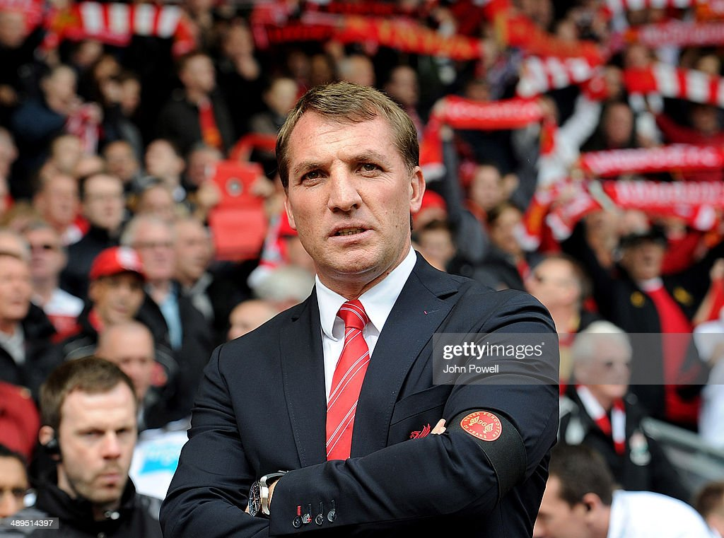 Manager of Liverpool Brendan Rodgers looks out to the fans before the Barclays Premier League match between Liverpool and Newcastle United at Anfield on May 11, 2014 in Liverpool, England.