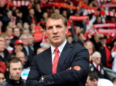 Manager of Liverpool Brendan Rodgers looks out to the fans before the Barclays Premier League match between Liverpool and Newcastle United at Anfield...
