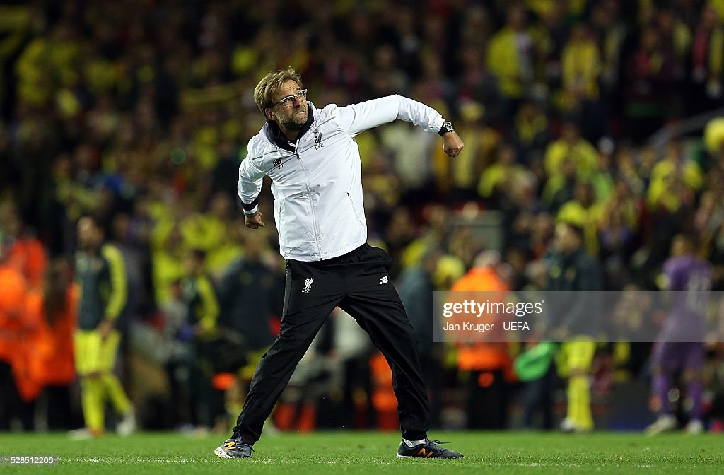 Manager of Liverpool Jurgen Klopp celebrates victory during the UEFA Europa League Semi Final second leg match between Liverpool and Villarreal CF at Anfield on May 05, 2016 in Liverpool, England.