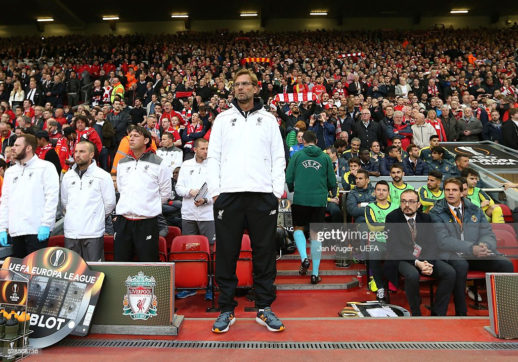 Manager of Liverpool Jurgen Klopp looks on during the UEFA Europa League Semi Final second leg match between Liverpool and Villarreal CF at Anfield on May 05, 2016 in Liverpool, England.