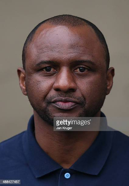Manager of Manchester City U21 Patrick Vieira looks on during the Barclays U21 Premier League match between Manchester City U21 and Chelsea U21 at...