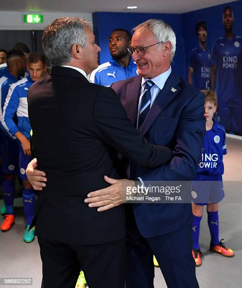 Manager of Manchester United Jose Mourinho and Manager of Leicester City Claudio Ranieri embrace prior to kick off during The FA Community Shield...