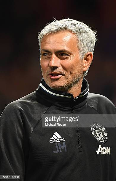 Manager of Manchester United Jose Mourinho looks on during the Wayne Rooney Testimonial match between Manchester United and Everton at Old Trafford...