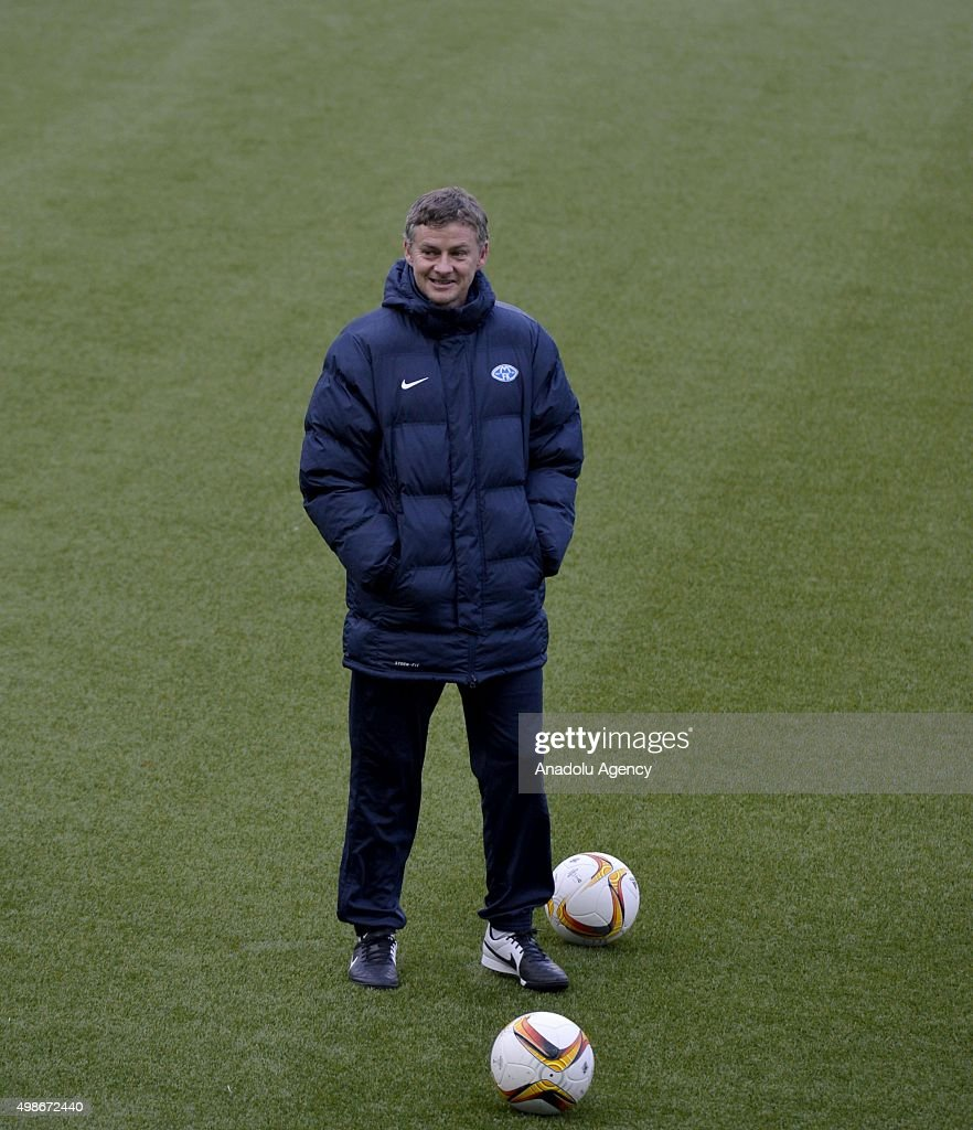 Manager of Molde FK Ole Gunnar Solskjaer is seen during a training session of his team at the Aker Stadium ahead of the UEFA Europa League Group A...